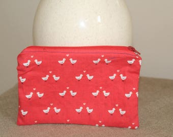 Handmade Zippered Pouch in Cute Lovebird Fabric, Makeup Bag, Travel Accessory, Multi-color Print, Back to School
