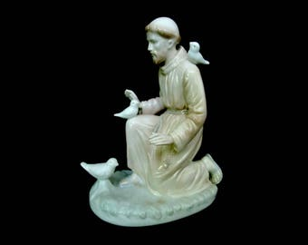 Vintage St Francis Statue, St Francis Porcelain Figurine, Saint Francis of Assisi, The Valencia Collection