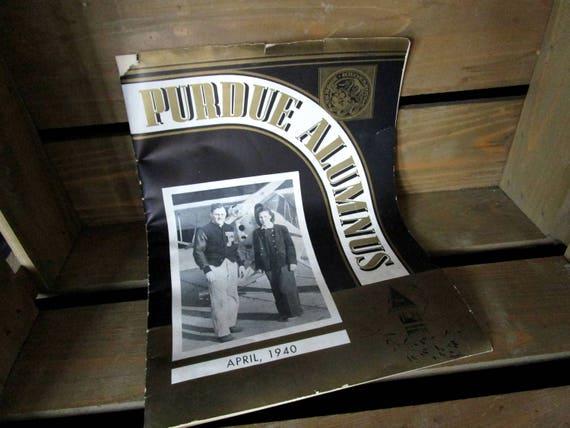 Vintage Purdue Alumnus, 1940, Alumnus Magazine, First Coed Pilot, Purdue Graduate, Purdue University, Boiler Up, Purdue Boilermakers