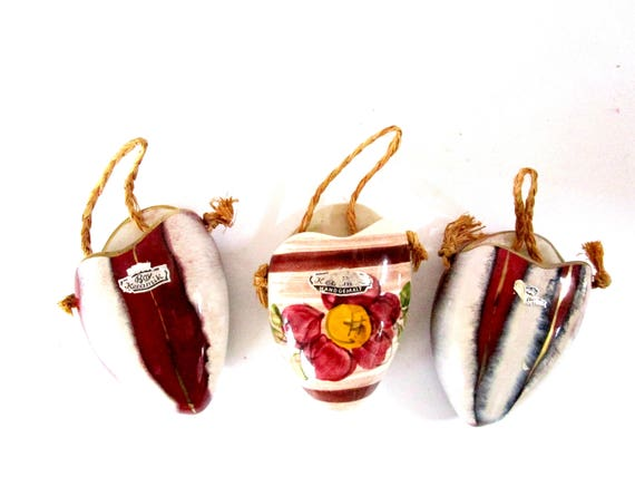 Set of 3 Keramik Hanging Planters, Wall Pockets, Small Wall Planters, Made in West Germany, 1960s