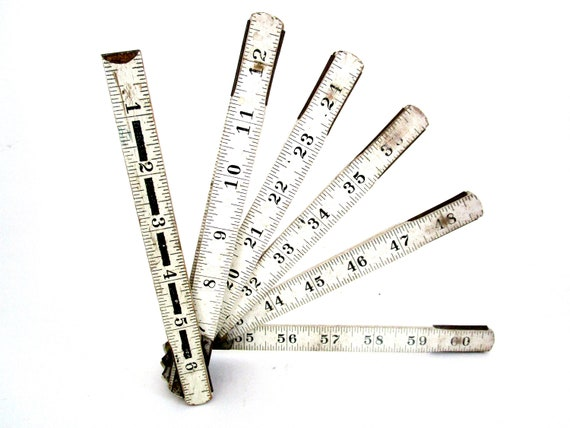 Vintage Folding Ruler, Wooden Measuring Stick, 60 Inches, 5 Feet, White, Black Lettering, Industrial Ruler, Carpenter Tools