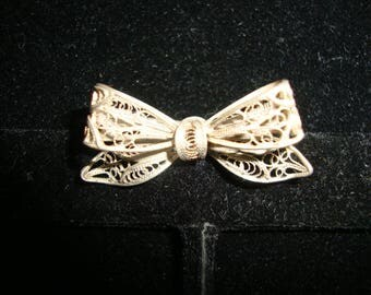Vintage Bow Pin/Brooch Marked 800  FREE SHIPPING