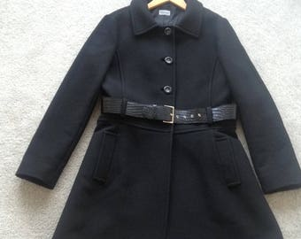 PHILOSOPHY Alberta Ferretti Black 60s silhouette Belted Coat - -Ital-46/UK14/US10