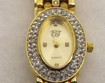 Elizabeth Taylor Oval Watch - Gold Tone with Crystals - S2402