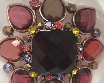 Joan Rivers Brooch - Burgundy Faceted Stones - S2420