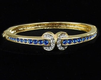 Jackie Kennedy Platinum Plated Bangle with Simulated Sapphires, Box and Certificate - Size 6.75