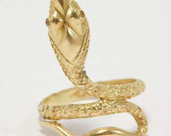 Antique 18K Detailed Snake Serpent Ring 750 Old European