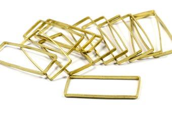 10 Pcs. Raw Brass 15x38 mm Rectangular Circle  Findings