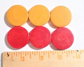 Lot of Three Each Chunky Cherry Red and Butterscotch Bakelite Checker Disc Pieces for Jewelry or Crafts Making