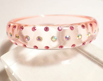 1960s Translucent Pink Lucite with Pink and Aurora Borealis Rhinestones