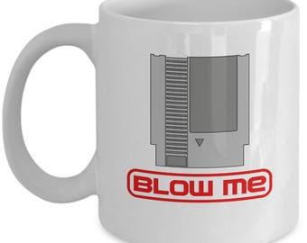Nintendo Cartridge Blow Me Mug Gamer Nerd Gift Coffee Cup Nerdy