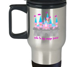 This is My Happy Place Disney Castle Gift Travel Mug Coffee Disneyland
