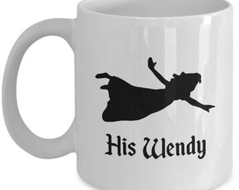 Disney His Wendy Gift Mug Her Peter Pan Tinkerbell Coffee Cup Couple Love Gifts