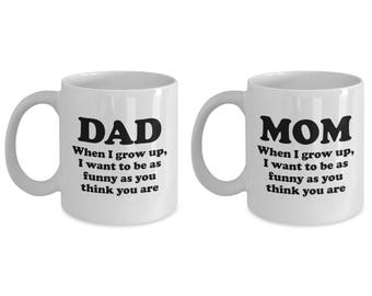 Mom and Dad Funny As You Think You Are Mug SET OF TWO Gift Mother Father Father's Mother's Day Coffee Cup