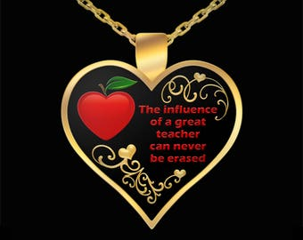 Teacher Necklace Gifts - Teachers Heart Gift from Student Pendant Jewelry (Choice of Metal)