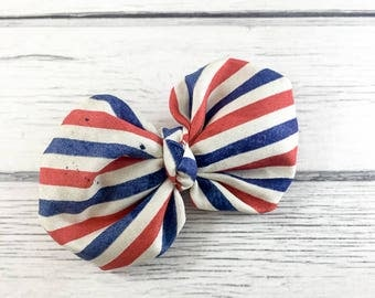 Patriotic Stripes Fabric Bow on CHOICE of French Clip or Headband