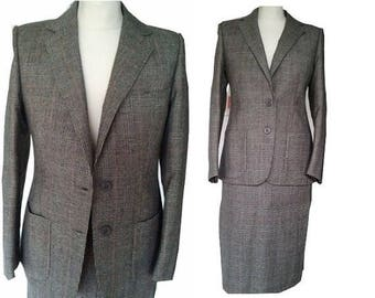 ON SALE 80s does 50s wool plaid suit pencil skirt jacket S