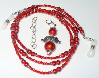 Eyeglasses necklace red with Angel 68 cm (157)