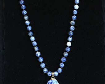 Blue Sodalite Necklace - Sodalite Necklace - Beaded Necklace - Healing Sodalite - Stone Necklace - Sodalite Pendant - Blue Beaded Necklace