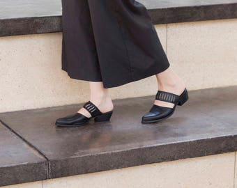 Black Mules, Cut Out, Low Heel, Slip on Shoes, Black Shoes, Leather Shoes, Handmade Shoes, Leather Mules, Clogs