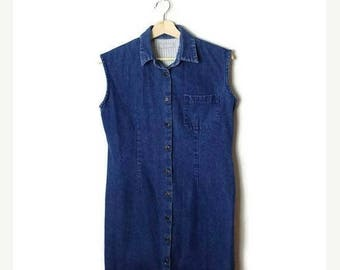 ON SALE Vintage Denim Button down Sleeveless Dress  from 90's*