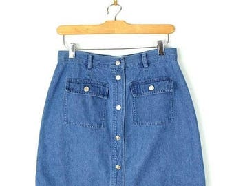 ON SALE Vintage Blue Denim Button down Mini Skirt from 90's/W26*