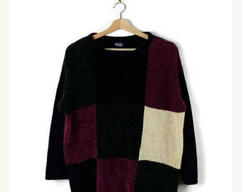 WINTER SALE 20% OFF Vintage Purple/Green/White/Black Color Blocked Sweater/Jumper from 90's*