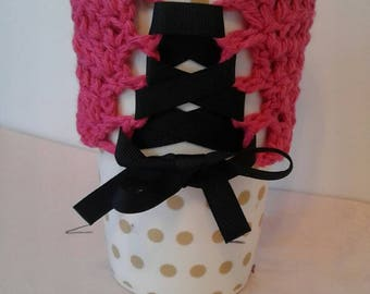 Pink corset eco friendly coffee cup sleeve coffee cup cozy