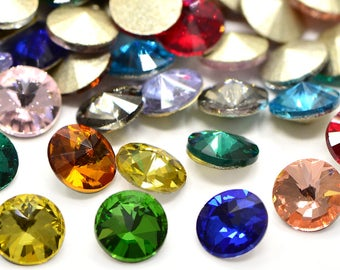 10 x faceted gemstones, Rivoli, chatons, color mix, 8 mm