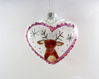 Limited Edition Hand Painted Heart Shaped Rudoph Christmas Tree Decoration