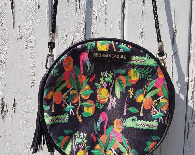Tropical Hibiscus Round Black Handbag
