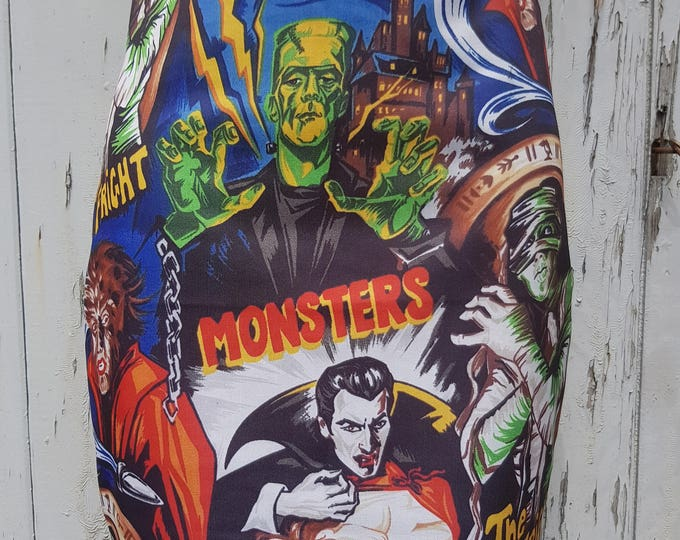 Horror Movie Mini Skirt - Size 8 10 12 14 16 - Vampire Werewolf Frankenstein