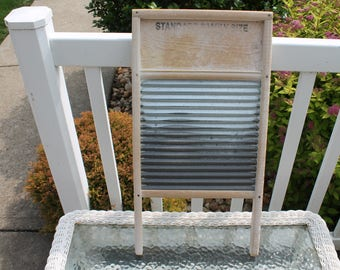 Sunnyland Wooden and Galvanized Steel Washboard by Columbus Washboard Co.