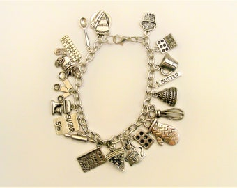 Love to Bake Themed Charm Bracelet, Love to Cook,For the Chef, Bakers Jewelry, Food Bracelet, Gifts for Cooks, Food Jewelry