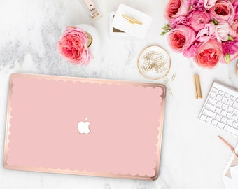 Mimosa Pink and Scallop Rose Gold Edge Hybrid Hard Case for Apple Mac Air & Mac Retina , New Macbook 2016 - Platinum Edition