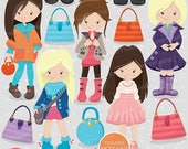80% OFF SALE Fashion girls clipart commercial use, vector graphics, digital clip art, digital images - CL702