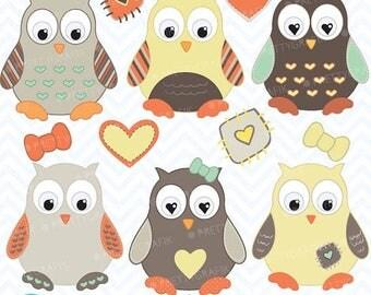80% OFF SALE Owl clipart commercial use, vector graphics, digital clip art, digital images  - CL407