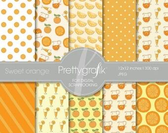 80% OFF SALE citrus orange digital paper, commercial use, scrapbook papers, background - PS506