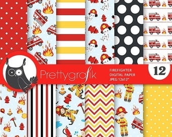 80% OFF SALE Firefighter digital papers, firefighter party scrapbook papers commercial use, scrapbook papers, background - PS792
