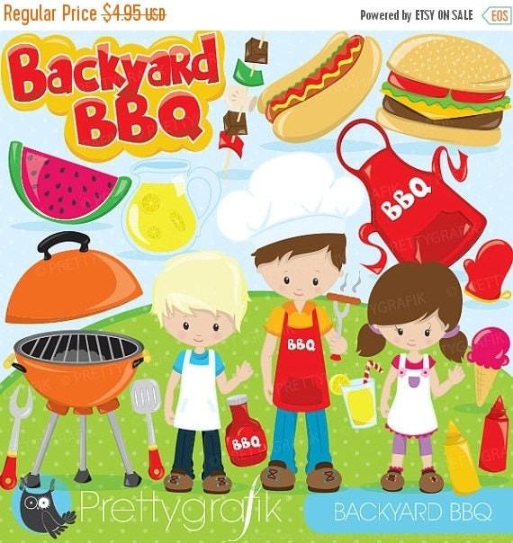 80 OFF SALE Backyard BBQ Clipart For Scrapbooking Bbq Kids