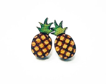 Pineapple studs, pineapple earrings, pineapple jewelry, laser cut pineapple, pineapple, wood pineapple, unisex earrings, unisex studs