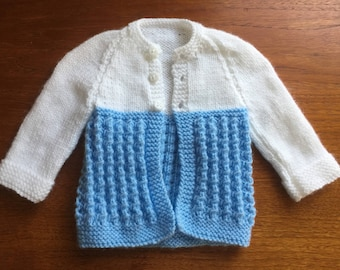Blue and white baby boy's cardigan