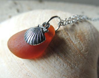 Handmade Surf Tumbled Thick Amber Sea Glass Pendant with Silver Clam Scallop Shell Charm