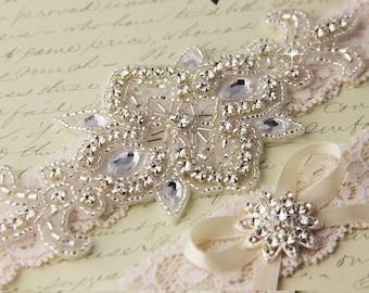 SUMMER SALE Wedding garter set, Ivory Lace Bridal Garter set, Lace Wedding Garter, Ivory Lace Garter Set, Rhinestone Garter Set, Personalize