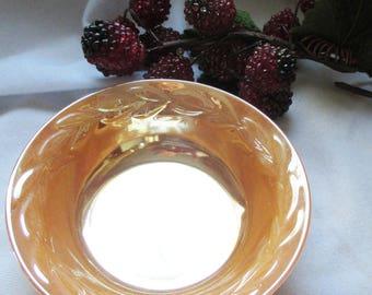 Vintage FIre King Peach Luster  Laurel Leaf pattern small berry bowl  -    estate find!