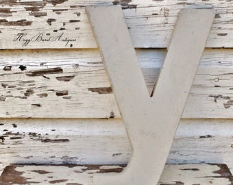 Vintage Metal Letter Marquee Sign Chippy White Gray Farmhouse Decor Industrial Salvage Fixer Upper Decor Y