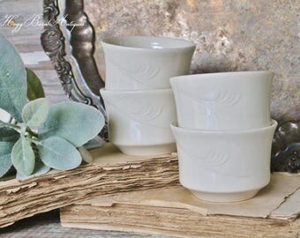 Vintage White Ironstone Custard Cups Restaurant Ware SYSCOWARE CHINA Farmhouse Decor