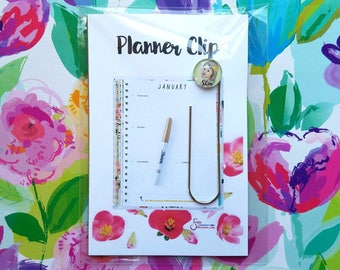 Shine Girl, blonde child smiling, Planner Clip w/ Glass Pendant. Designed from whimsical drawing. Inspirational Bookmark, Journal Clip
