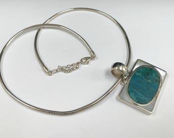 Vintage Silver  Necklace With Turquoise And Mother Of Pearl  Pendant !!!!  Free US Shipping!!!