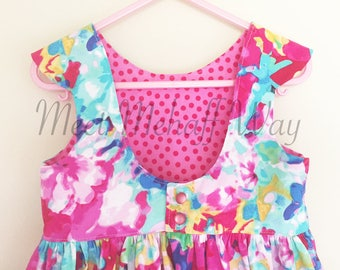 READY-TO-SHIP -- Bright Watercolor Floral Dress -- Size 4 -- Girls Scoop Back Dress